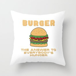BBQ, barbecue, beef, buns, burger, cheese, cheeseburger, dinner, fast food, food, grill, hamburger,  Throw Pillow