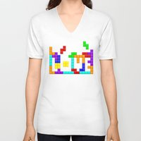 tetris V-neck T-shirts featuring Tetris Love by Wheel of Fortune