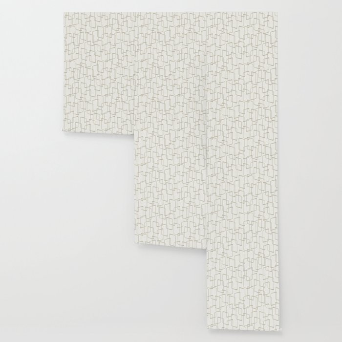 Beige / Light Warm Gray Retro Geometric Print Wallpaper