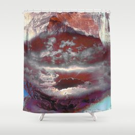 Painted cloudy mountain landscape Shower Curtain