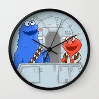 elmo Wall Clocks featuring Han Elmo and the Wookie Monster by NathanJoyce