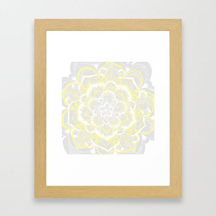 Woven Fantasy - Yellow, Grey & White Mandala Framed Art Print