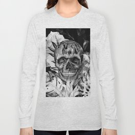Black White Boho Skull Long Sleeve T-shirt