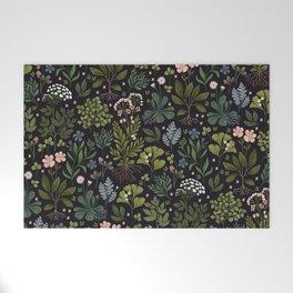 Herbarium ~ vintage inspired botanical art print ~ black Welcome Mat