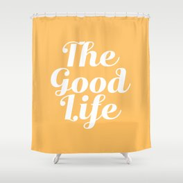 The Good Life - Yellow and White Shower Curtain