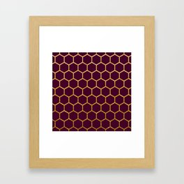 Burgundy red and gold foil honeycomb patten Framed Art Print