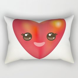 Valentine's Day Card with Kawaii red heart Rectangular Pillow