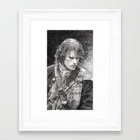 outlander Framed Art Prints featuring James Fraser by ellaine
