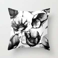 Flora Black Throw Pillow