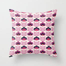 BAM - retro 70s style floral pattern 1970s inspired vintage art decor flowers Throw Pillow