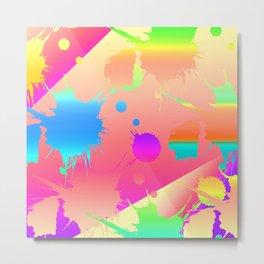 Neon Splatter Metal Print