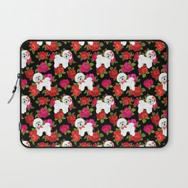 Bichon Frise dogs red rose floral for dog lovers Laptop Sleeve