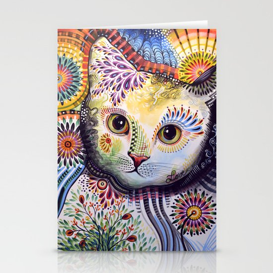 Lucy ... Abstract cat art Stationery Cards