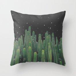 Starry Night Cactus Throw Pillow