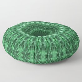 Detailed mandala in light and dark green tones Floor Pillow