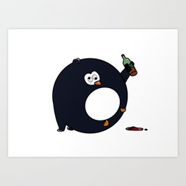 little pinguin drinks Art Print