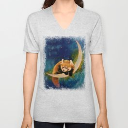 Red Panda Moon Unisex V-Neck