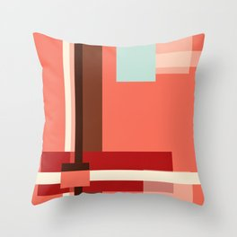 Geometric Abstract with Living Coral Throw Pillow