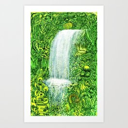 waterfall in tropical forest Art Print