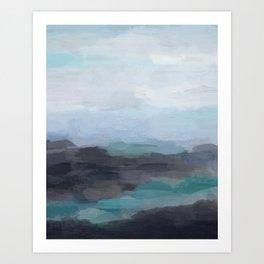 Mint Navy Blue Green Abstract Wall Art, Painting Art, Ocean Painting Print, Blue Water Art Print