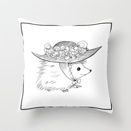 Hedgehog in a Hat Throw Pillow