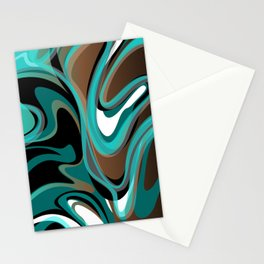 Liquify - Brown, Turquoise, Teal, Black, White Stationery Cards