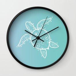 Sea Turtle Henna on aqua Wall Clock