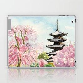 Japanese Temple Watercolor Painting print by Suisai Genki , To-ji, Kyoto , Sakura , Cherry blossom Laptop & iPad Skin
