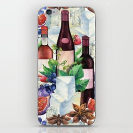 Watercolor wine glasses and bottles decorated with delicious food iPhone Skin