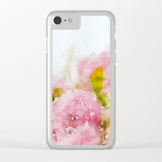 Rose treasure - Abstract watercolor flowers on white backround Clear iPhone Case