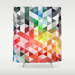 Retro pattern of triangles geometric shapes Shower Curtain