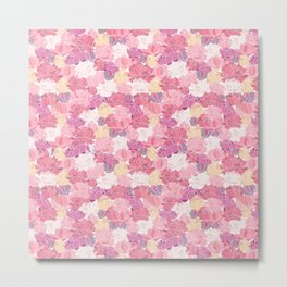 Peonies in Pink and Purple Pattern Metal Print