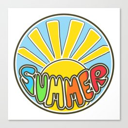 Summer ticker, Summer design, beach sticker, colorful Canvas Print