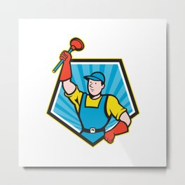Super Plumber Wielding Plunger Pentagon Cartoon Metal Print