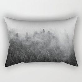 Black and White Mist Ombre Rectangular Pillow