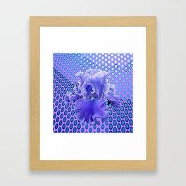 FRILLY LILAC BEARDED IRIS 0N MODERN PURPLE ART Framed Art Print