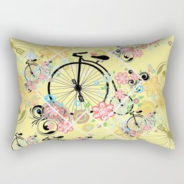 Bicycle with floral ornament Rectangular Pillow
