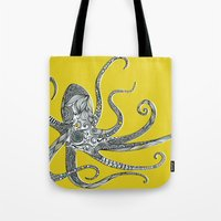 octopus Tote Bags featuring Octopus by Rachel Russell