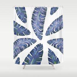 Tropical Banana Leaves Blue #society6 #buyart Shower Curtain