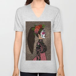 Rosa Maria on the Day of the Dead Unisex V-Neck
