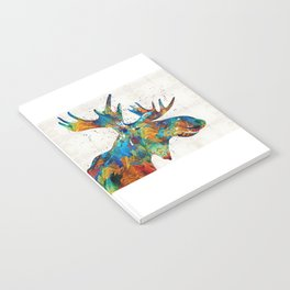 Colorful Moose Art - Confetti - By Sharon Cummings Notebook