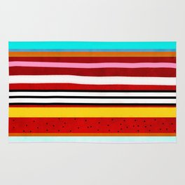 Watermelon Red Striped Colors Rug