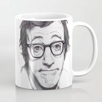 woody allen Mugs featuring Woody Allen by Paul Nelson-Esch Art