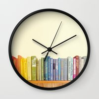 library Wall Clocks featuring Rainbow Library by Sarajea