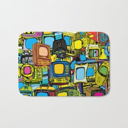 Televisions of various ages Bath Mat