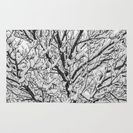 The Black and White Snow Tree Rug