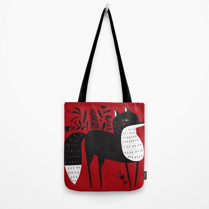 BLACK & WHITE FOX Tote Bag