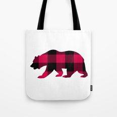 Buffalo Plaid Bear Tote Bag