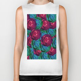 closeup blooming roses in red blue and green Biker Tank
