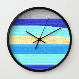 Ocean Blue Painter's Stripes Wall Clock